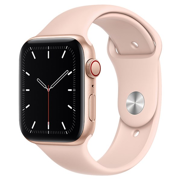 Apple Watch SE LTE 44mm viền nhôm dây cao su hồng