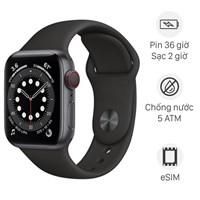 Apple Watch S6 LTE 40mm viền nhôm dây cao su đen