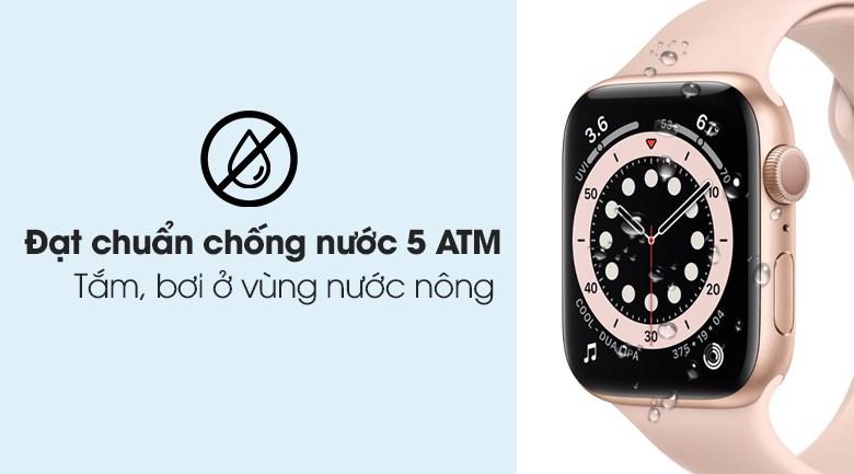 Apple Watch S6 LTE 40mm viền nhôm dây cao su hồng đạt chuẩn chống nước 5 ATM