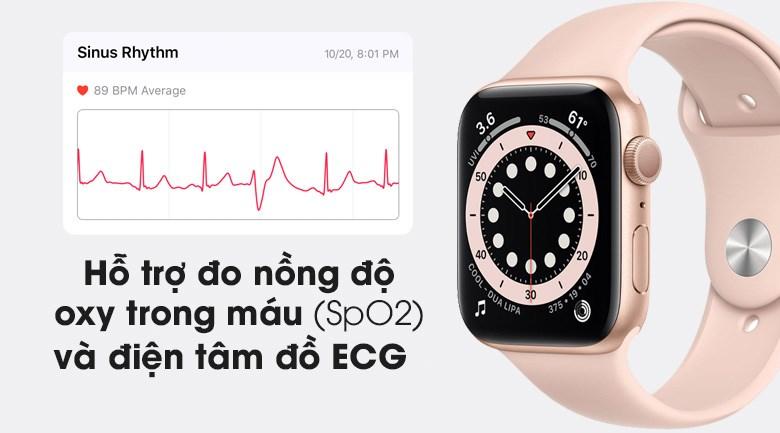 Apple Watch S6 LTE 40mm viền nhôm dây cao su hồng hỗ trợ đo SpO2 và ECG