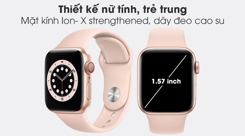 Apple Watch S6 LTE 40mm viền nhôm dây cao su hồng - thiết kế