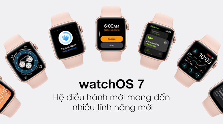 Apple Watch S6 LTE 40mm viền nhôm dây cao su hồng - hệ điều hành watchOS 7