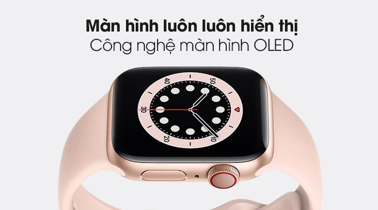 Apple Watch S6 LTE 40mm viền nhôm dây cao su hồng - màn hình OLED