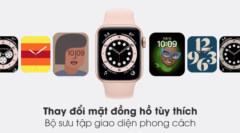 Apple Watch S6 LTE 40mm viền nhôm dây cao su hồng - bộ sưu tập mặt đồng hồ