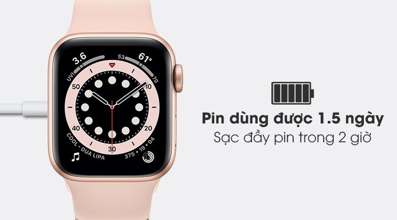 Apple Watch S6 LTE 40mm viền nhôm dây cao su hồng - pin 1.5 ngày