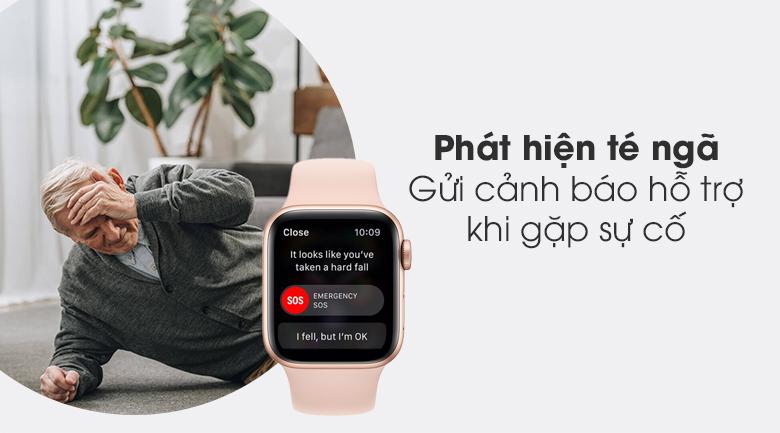 Apple Watch S6 LTE 40mm viền nhôm dây cao su hồng - phát hiện té ngã