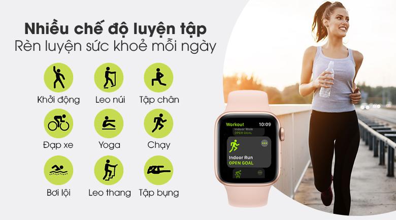 Apple Watch S6 LTE 40mm viền nhôm dây cao su hồng - nhiều chế độ luyện tập