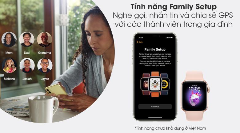 Apple Watch S6 LTE 40mm viền nhôm dây cao su hồng - Family Setup