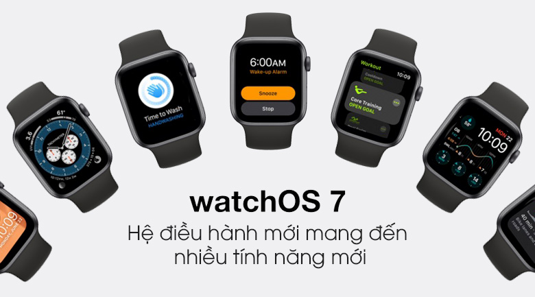 Apple Watch S6 44mm viền nhôm dây cao su đen - hệ điều hành