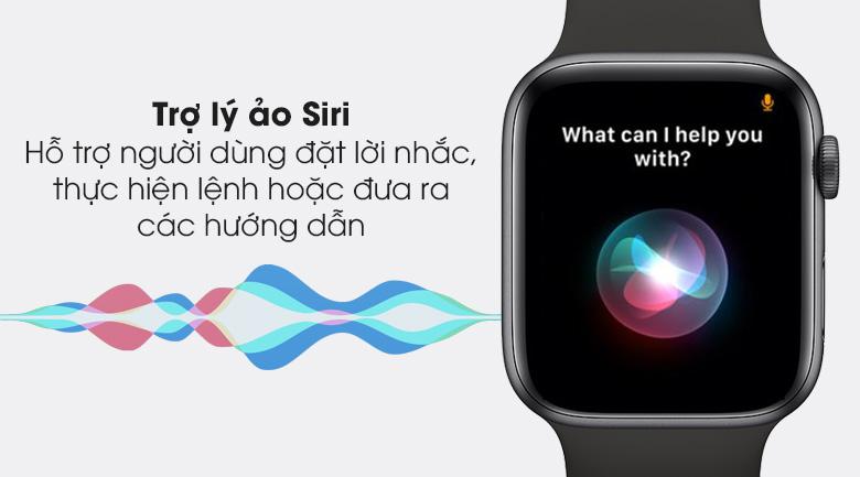 Apple Watch S6 44mm viền nhôm dây cao su đen - Siri