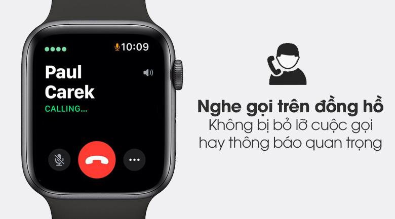 Apple Watch S6 44mm viền nhôm dây cao su đen - tính năng nghe gọi