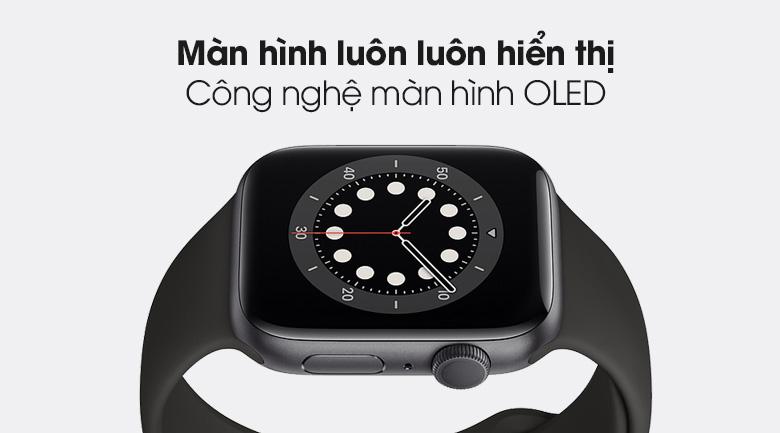 Apple Watch S6 44mm viền nhôm dây cao su đen - Màn hình