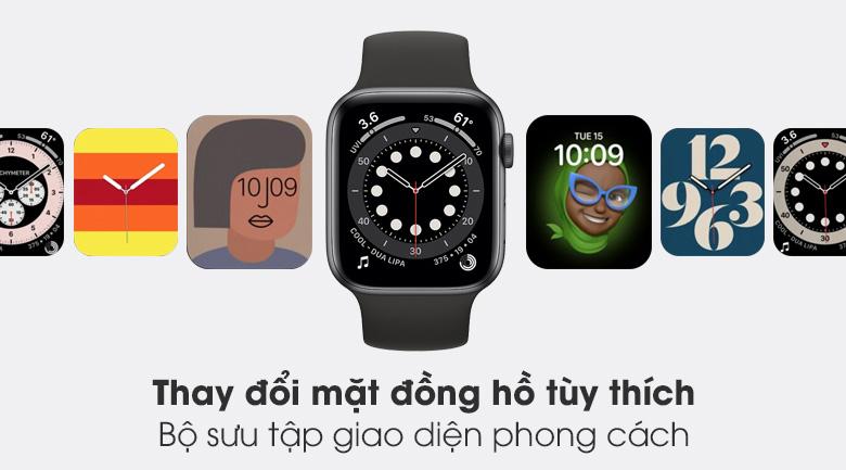 Apple Watch S6 44mm viền nhôm dây cao su đen - thay mặt