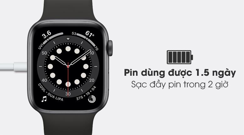 Apple Watch S6 44mm viền nhôm dây cao su đen - pin