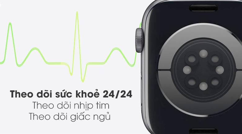 Apple Watch S6 44mm viền nhôm dây cao su đen  - theo dõi giấc ngủ