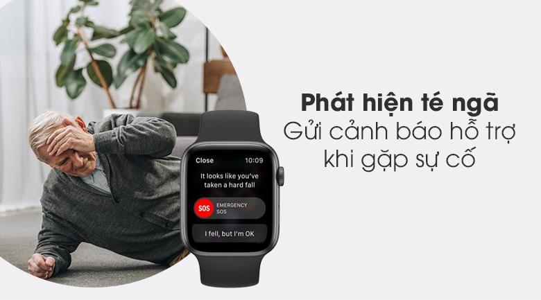 Apple Watch S6 44mm viền nhôm dây cao su đen - cảm biến té ngã