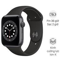 Apple Watch S6 44mm viền nhôm dây cao su đen