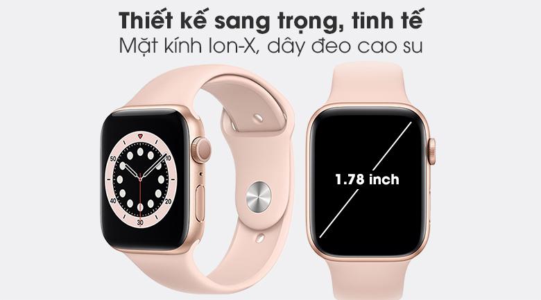 Apple Watch S6 44mm viền nhôm dây cao su hồng với thiết kế sang trọng, tinh tế