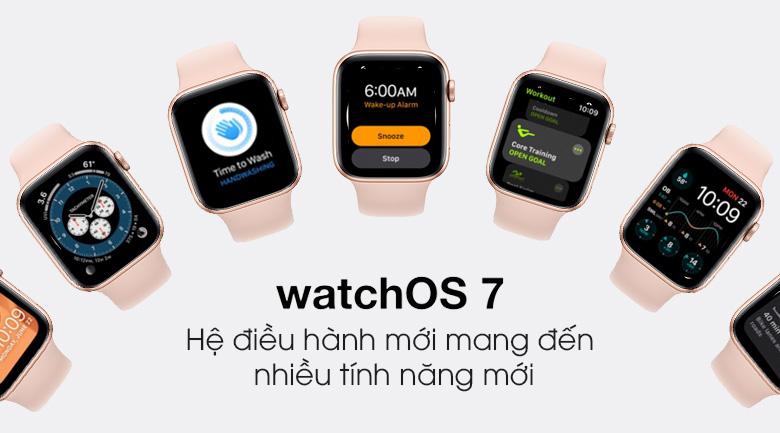 Apple Watch S6 44mm viền nhôm dây cao su hồng có hệ điều hành WatchOS 7 cập nhật thêm nhiều tính năng hữu ích