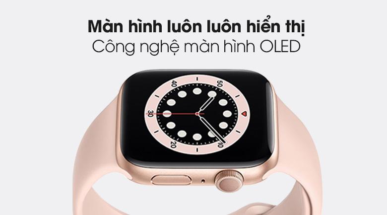 Apple Watch S6 44mm viền nhôm dây cao su hồng trang bị màn hình OLED hiển thị sắc nét, độ tương phản cao