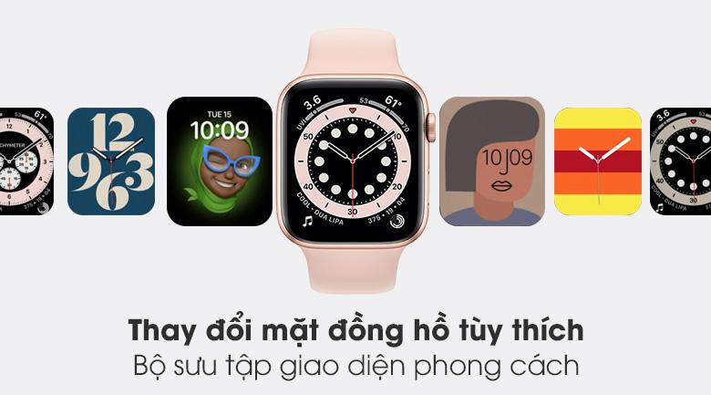Apple Watch S6 44mm viền nhôm dây cao su hồng trang bị màn hình OLED có bộ sưu tập giao diện đồng hồ đa dạng, phong cách