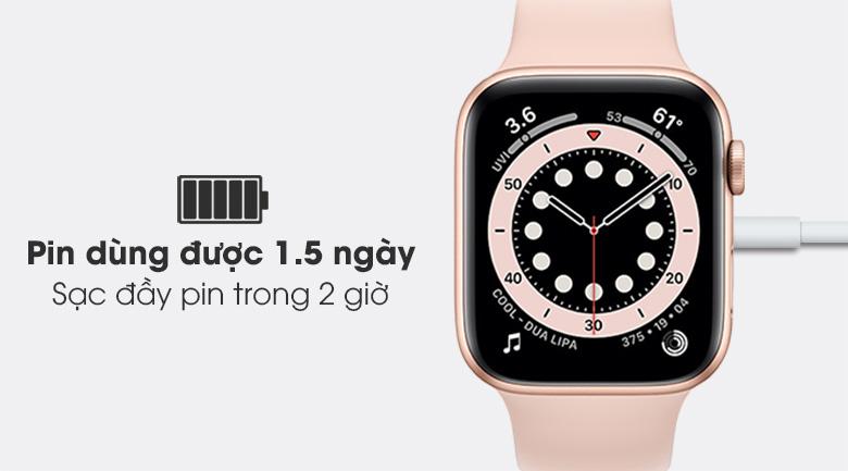 Apple Watch S6 44mm viền nhôm dây cao su hồng trang bị màn hình OLED có thời lượng pin lớn, sạc đầy nhanh chóng
