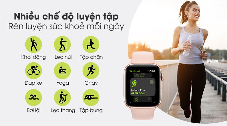 Apple Watch S6 44mm viền nhôm dây cao su hồng hỗ trợ nhiều bài luyện tập thể thao từ cơ bản đến nâng cao