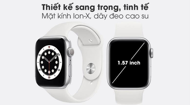 Apple Watch S6 40mm viền nhôm dây cao su trắng mang kiểu dáng đơn giản, sang trọng