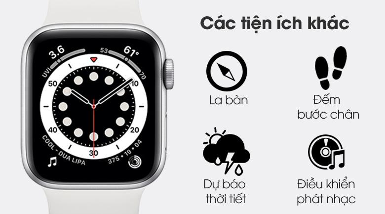 Apple Watch S6 40mm viền nhôm dây cao su trắng cùng nhiều tính năng khác