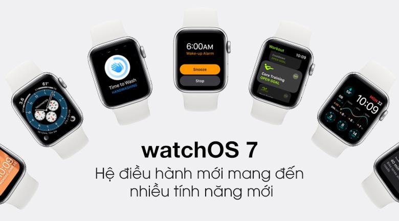 Apple Watch S6 40mm viền nhôm dây cao su trắng dùng hệ điều hành WatchOS 7