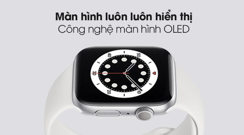 Apple Watch S6 40mm viền nhôm dây cao su trắng màn hình OLED Retina hiển thị sắc nét