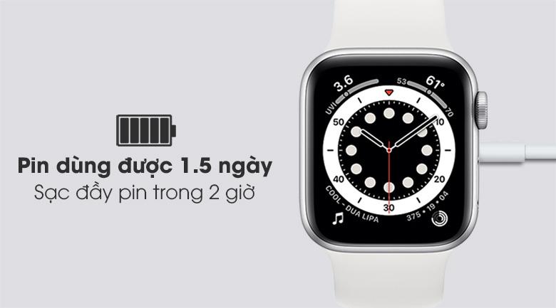 Apple Watch S6 40mm viền nhôm dây cao su trắng dùng được khoảng 1.5 ngày