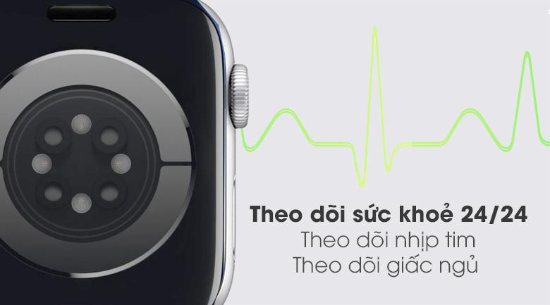 Apple Watch S6 40mm viền nhôm dây cao su trắng đo nhịp tim và theo dõi giấc ngủ