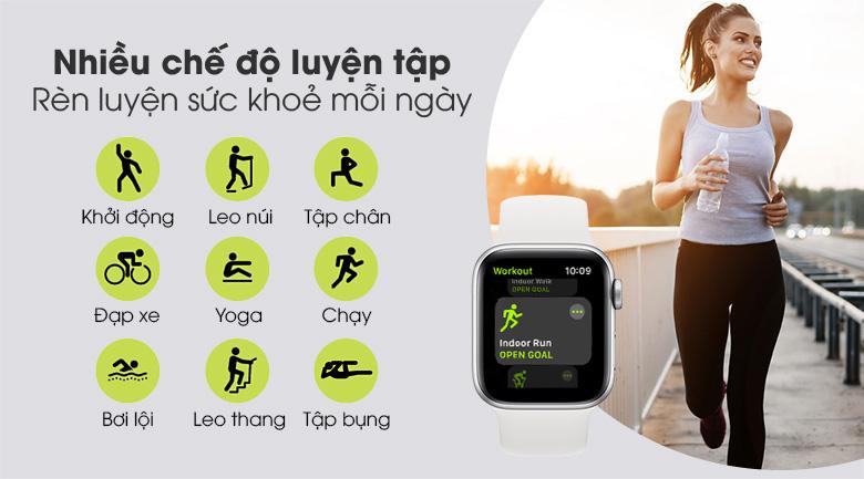 Apple Watch S6 40mm viền nhôm dây cao su trắng hỗ trợ tập luyện thể thao