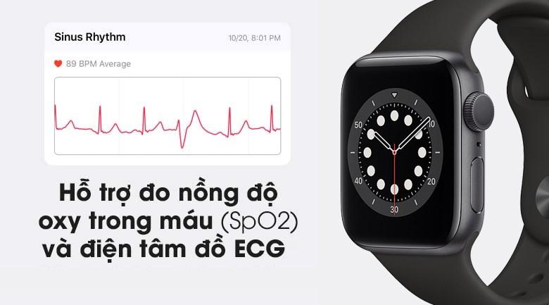 Apple Watch S6 40mm viền nhôm dây cao su đen hỗ trợ đo SpO2 và ECG
