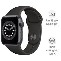 Apple Watch S6 40mm viền nhôm dây cao su đen