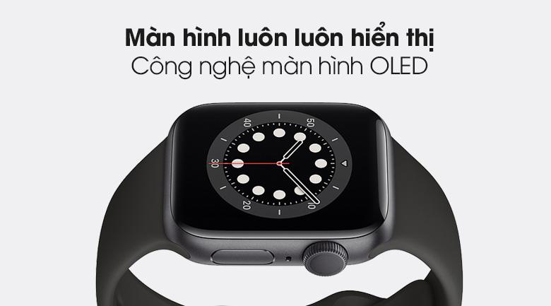 Apple Watch S6 40mm viền nhôm dây cao su đen - màn hình OLED