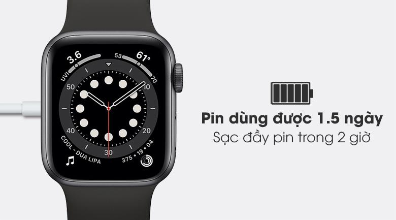 Apple Watch S6 40mm viền nhôm dây cao su đen - pin 1.5 ngày