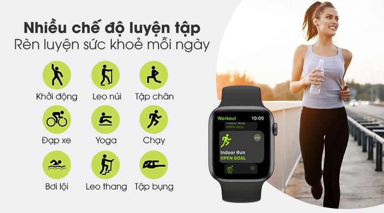 Apple Watch S6 40mm viền nhôm dây cao su đen - nhiều chế độ luyện tập