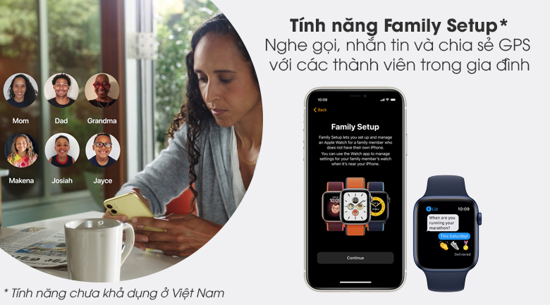 Apple Watch S6 40mm viền nhôm dây cao su xanh với tính năng Family Setup