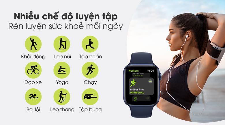 Apple Watch S6 40mm viền nhôm dây cao su xanh bổ sung nhiều bài tập thể thao