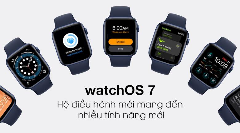 Apple Watch S6 40mm viền nhôm dây cao su xanh chạy hệ điều hành WatchOS 7