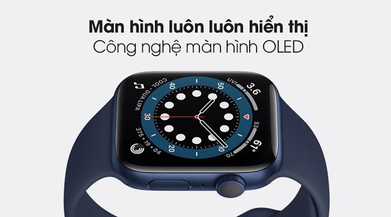 Apple Watch S6 40mm viền nhôm dây cao su xanh với tính năng màn hình luôn hiển thị