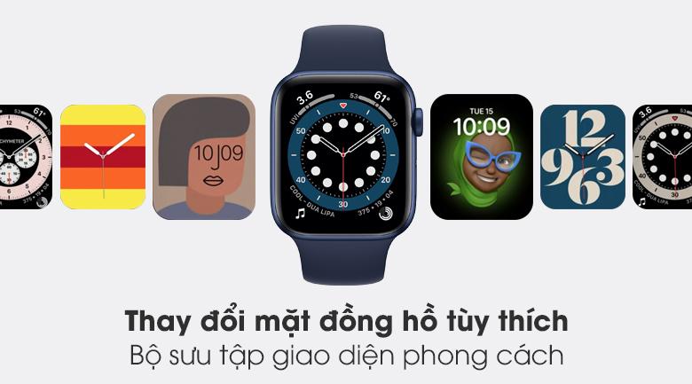 Apple Watch S6 40mm viền nhôm dây cao su xanh tích hợp nhiều mặt đồng hồ phong cách