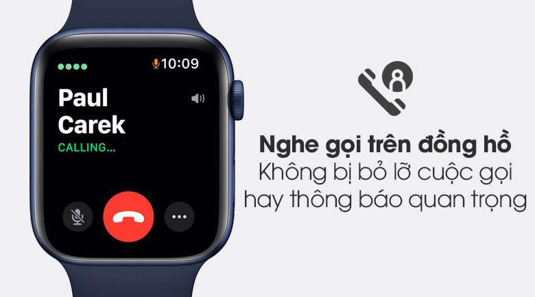 Apple Watch S6 40mm viền nhôm dây cao su xanh kết nối điện thoại qua Bluetooth