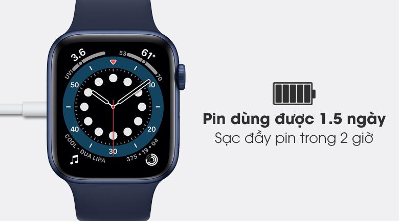Apple Watch S6 40mm viền nhôm dây cao su xanh có thể dùng trong 1.5 ngày