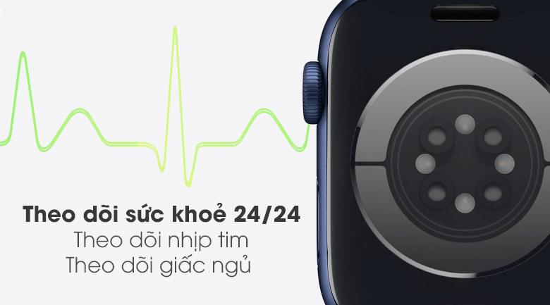 Apple Watch S6 40mm viền nhôm dây cao su xanh theo dõi sức khỏe liên tục
