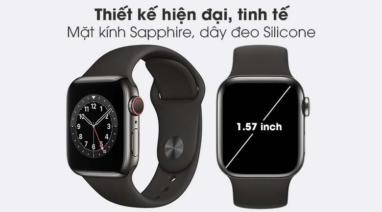 Apple Watch S6 LTE 40mm viền thép dây cao su đen - thiết kế