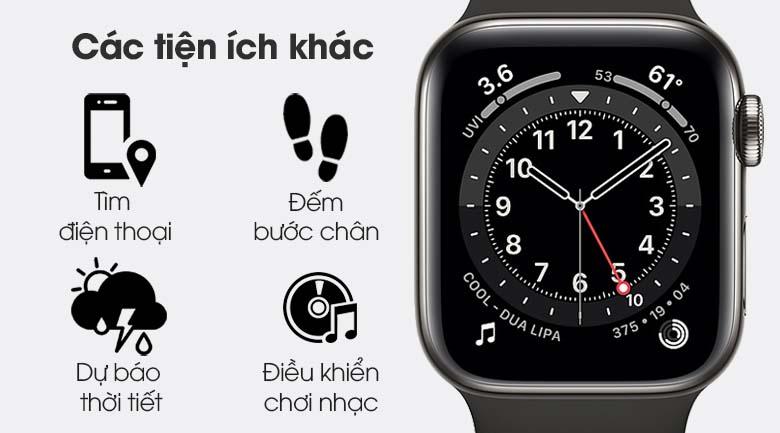 Apple Watch S6 LTE 40mm viền thép dây cao su đen - nhiều tiện ích khác
