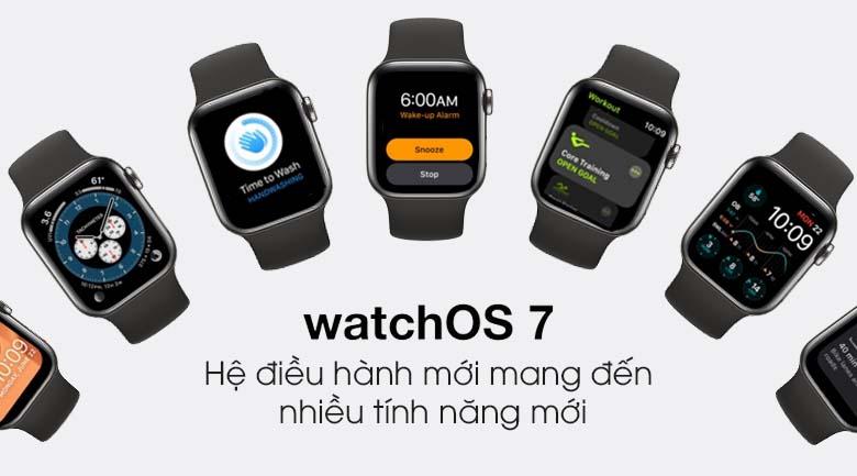 Apple Watch S6 LTE 40mm viền thép dây cao su đen - hệ điều hành watchOS 7
